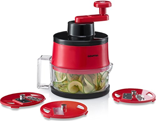 Gourmia GSS9210 Spiral Slicer Vegetable Spiralizer Includes 3 Interchangeable Slicing Blades Great for Veggie Spaghetti, Pasta, Salad, Potatoes & More Striking Red Finish, BPA free