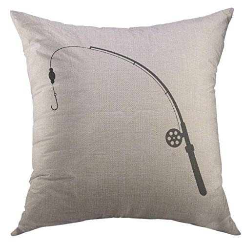 Mugod Decorative Throw Pillow Cover for Couch Sofa,Black Fishing Rod Silhouette of Relaxation Tourism Ocean Spinnerbait Spoon Bait Hunting White Flat Trend Home Decor Pillow case 18x18 Inch