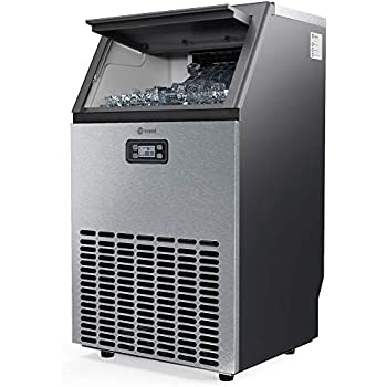 Vremi Commercial Grade Ice Maker - Produces 99 Pounds of Ice in 24 Hours with 29 Pounds Storage Bin - Stainless Steel, Freestanding Automatic Clear Cube Ice Making Machine Perfect for Home or Business