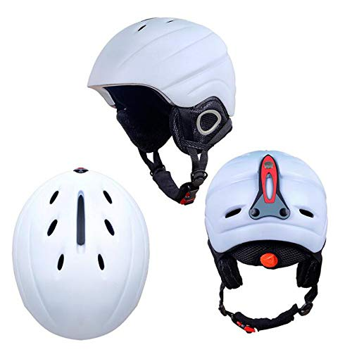(ZY Ski Helmet Protective Gear for Men and Women Skating Sports Helmet Integrated Double Snowboard Cap,White)