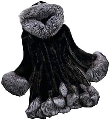 Color : Black, Size : XXL Huaishu Manteau de Fourrure dhiver pour Femmes Solide Simple /à Capuche /à Manches Longues Longue Veste en Fausse Fourrure