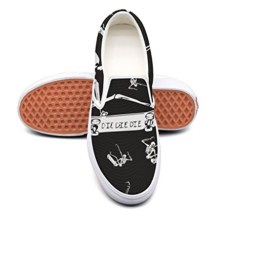 RegiDreae Canvas Slip On Sneakers For Women Skull Skateboarding Skate Sketch Fashion Sneaker