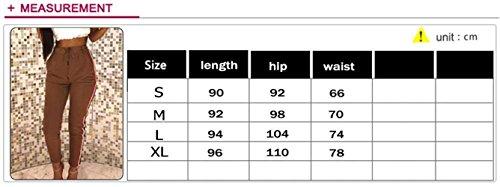 Sweat Tissu De Fitness Haute Élégant Rayé Pantalon Longue Marque Taille Automne Jogging Poches Printemps Mode Vertical Noir Cordon Femmes Taxq7wET