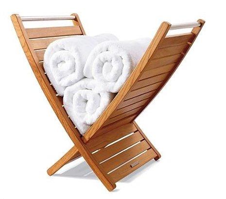 New Grade A Teak Wood Bath Shower Spa Room Towel Holder #WHAXTH by WholesaleTeak (Image #1)