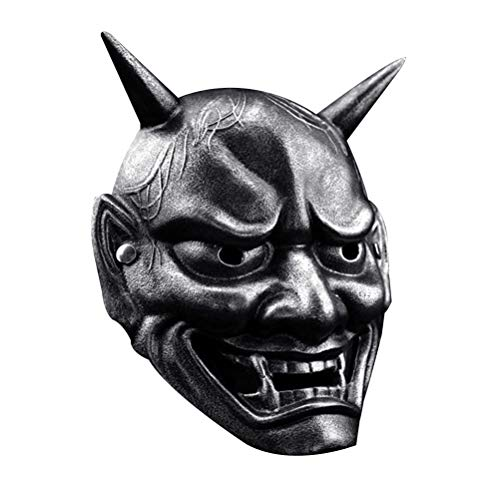 Amosfun Party Cosplay Japanese Hannya Omen Demon Devil Costume Mask Props Halloween Party Carnival Antique Silver