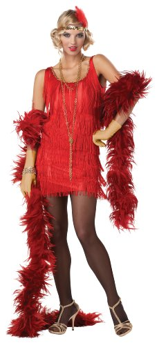California Costumes Women's Fashion Flapper Costume, Red, X-Large (Red Fringe Flapper Costume)