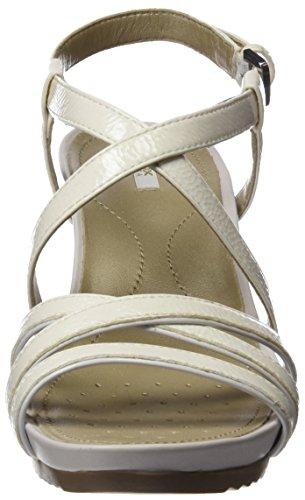 Geox D New Rorie B, Sandalias con Cuña para Mujer Blanco (OFF WHITEC1002)