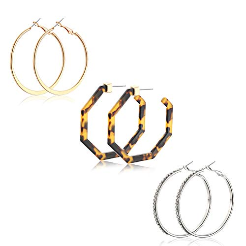 MOLOCH 3 Pair Hoop Earrings for Women Acrylic Resin Gold Silver Plate Rhinestone Pave Hoop Earring Set (B)