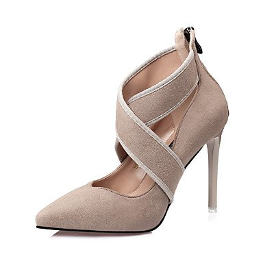 RTRY Zapatos De Mujer Suede Caída Comodidad Tacones Stiletto Talón Señaló Toe Hebilla Para Vestir Caqui Gris Negro De Almendra US5 / EU35 / UK3 / CN34