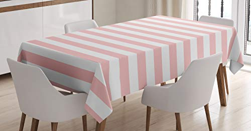 - Lunarable Blush Tablecloth, Retro Style Pastel Colored Pink Stripes on White Background Vintage Geometric Design, Dining Room Kitchen Rectangular Table Cover, 60 W X 90 L Inches, Rose White