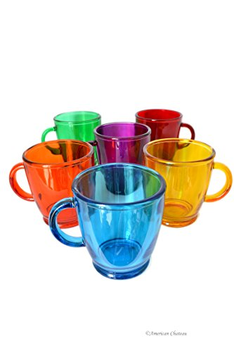 6 Assorted Color 12 oz Italian Glass Tea Coffee Mugs Glasses With Handles