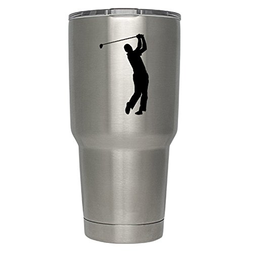 Golf Stickers Golf Decal Black Vinyl Decal Sticker   2-Pack   Premium Quality   3-Inch   Golf Decals Golf Sticker (DECAL ONLY CUP NOT INCLUDED)   Yeti RTIC Orca Ozark Trail Tumbler Decal   YD022-B