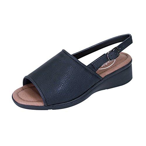 Extra Wide Width Shoes (24 Hour Comfort  Sally Women Extra Wide Width Open-Toe Slingback Buckle Open Back Black 8.5)