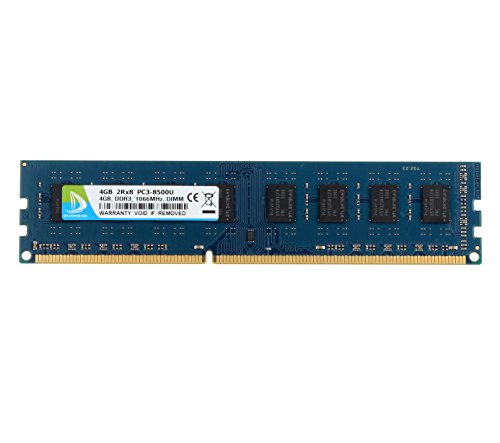 (DUOMEIQI RAM 4GB DDR3 1066MHz DIMM PC3-8500 PC3-8500U CL7 1.5v (240 PIN) 2RX8 Non-ECC Unbuffered Desktop Memory RAM Module Compatible with Intel AMD System)