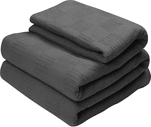 Utopia Bedding Woven Full / Queen Size Summer Cotton Blanket Breathable, 100% Premium Cotton Throw Blanket and Quilt for Bed and Sofa, Grey