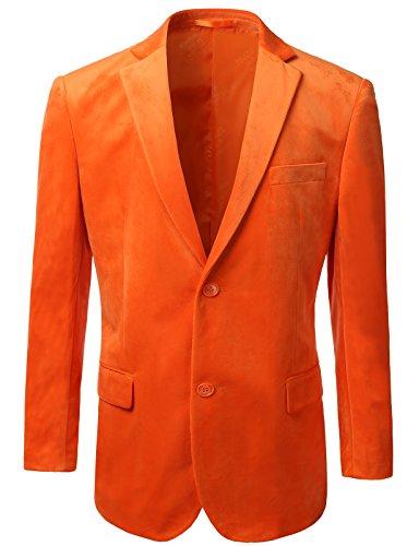 iDarbi Mens American Regular-Fit 2 Button Velvet Blazer ORANGE XLARGE