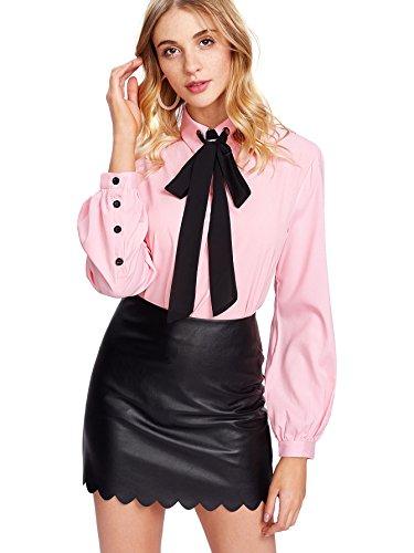 SheIn Women's Bow Tie Neck Ruffle Long Sleeve Chiffon Shirt Blouse Top Pink ()