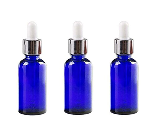 Ounce Dropper 0.5 (Ericotry 3PCS 15ml (1/2 oz) Glass Bottles With Glass Eye Droppers Empty Refillable Essential Oil Perfume Aromatherapy Vial Pot Liquid Containers Jars with White Ruuber Cap and Silver Circle (Blue))
