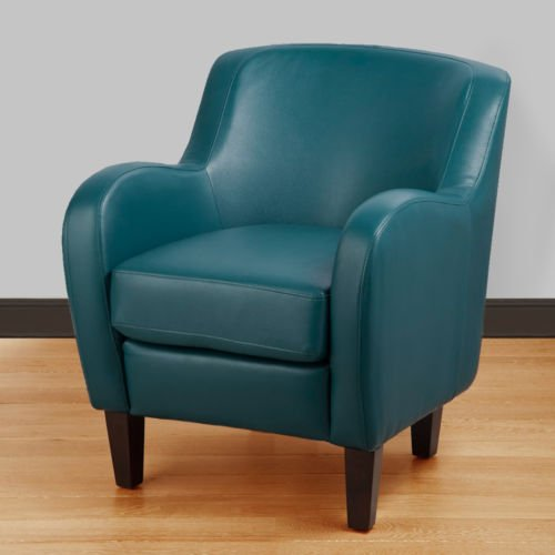 A Bonded Leather Teal Turquoise Arm Tub Chair