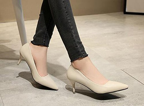 CHFSO Womens Comfy Stiletto Solid Pointed Toe Low Top Slip On Mid Heel Work Pumps Shoes Apricot ZLkxd