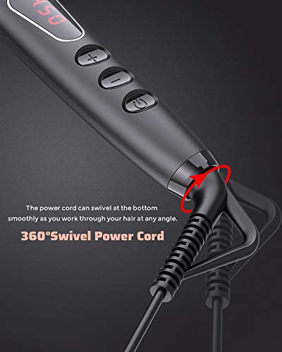 MEGAWISE Enhanced Ionic Anti-Scald Hair Straightener Brush with Universal Dual Voltage, MCH, Auto-off Safe& Rotatable Power Cord for Home Salon