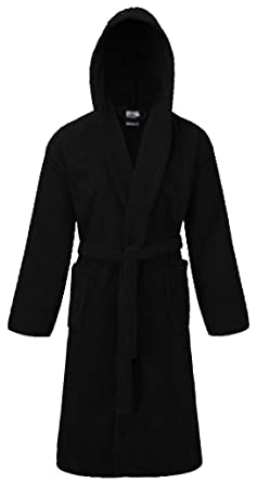 Vanilla Inc Unisex 100% Egyptian Cotton Luxurious Bathrobe Terry Towelling  Hooded Dressing Gown Housecoat Black d0c8ee0c9