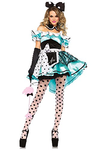 Leg Avenue Women's 3 Piece Delightful Alice Costume, Multi, Large (Sexy Mad Hatter Costumes)