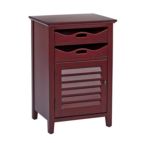 OSP Home Furnishings Charlotte Chair Side Table in Country Cottage Finish Vintage Wine Brushed