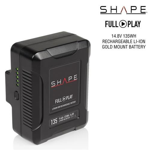 Shape Full Play 14.8V 135Wh 9.4Ah Rechargeable Lithium-Ion Gold-Mount Battery for Broadcast Video Cameras