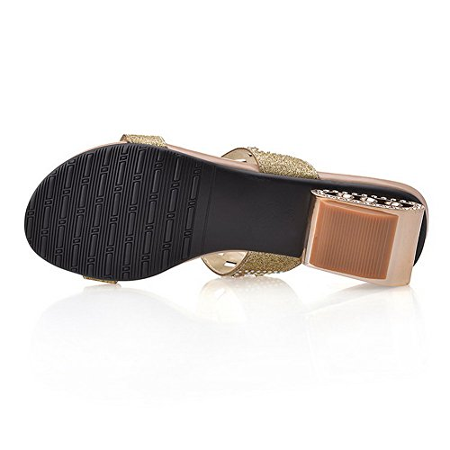 Amoonyfashion Womens Open-teen Pull-on Blend Materialen Stevige Lage Hakken Sandalen Goud
