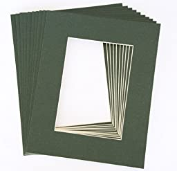 Pack of 10 DARK GREEN 16x20 Picture Mats Matting with White Core Bevel Cut for 11x14 Pictures