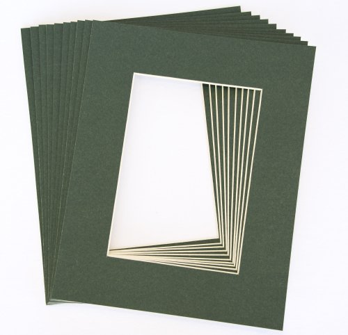 Pack of 10 DARK GREEN 11x14 Picture Mats Matting with White Core Bevel Cut for 8x10 Pictures