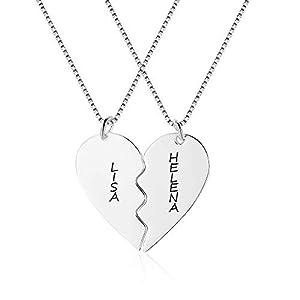 XiXi Collier d'amitié pour femme avec pendentif en forme de cœur et chaîne personnalisable