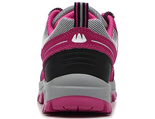 Deporte de Zapatillas para Hombre 8507ds Botas Libre Piel de Mujer de FMCAMEL Zapatos Botas Botas al Senderismo de Aire Cordones de Ocio de Senderismo Senderismo Rosa Trainer s qnwUFXHYR
