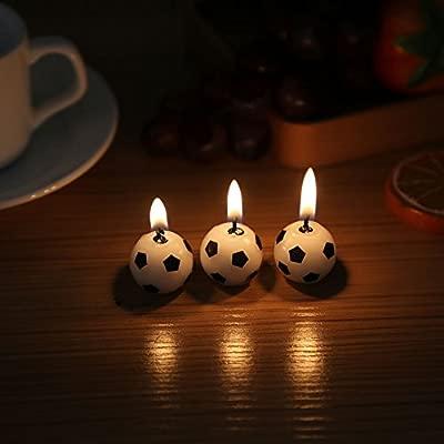 GLOGLOW Juego de 3 Velas de Fútbol para Fiesta de Cumpleaños ...