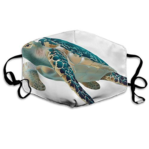 YUIOP Turtle Clipart Fish Printed Mask Neutral Mask for Men and Women Polyester Dust-Proof Breathable Mask ()
