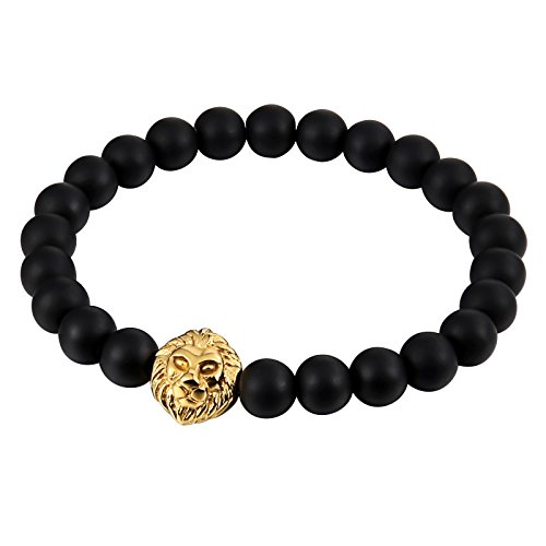 Aokarry Stainless Steel Bracelet for Men Beaded Lion's Head Black Chain Hollow Punk Style Length:21.5CM