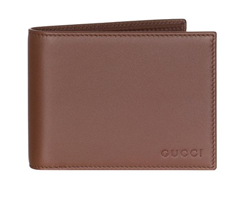 Gucci Dark Brown Leather Embossed Logo Bi Fold Wallet