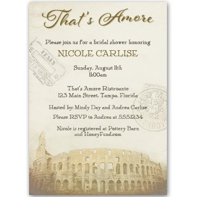 Bridal Shower Invitations, Sage, That's Amore, Italy, Italian Theme, Wedding Shower, Vintage, Passport, Rome, Coliseum, Personalized, Set of 10 Custom Printed Invites with Envelopes