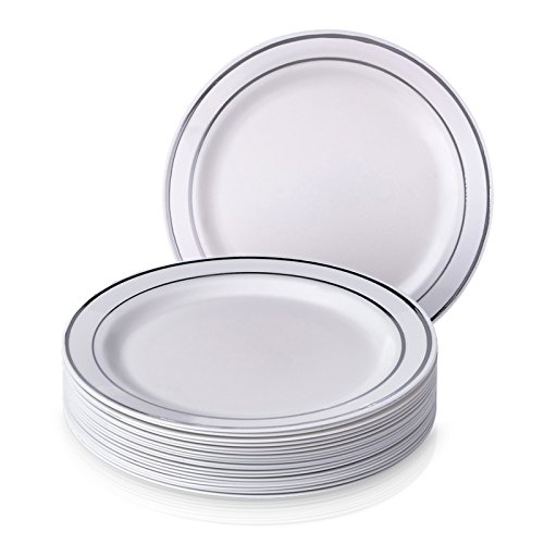 PARTY DISPOSABLE 20 PC DINNERWARE SET | 20 Dinner Plates | Heavy Duty Disposable Plastic Dishes | Elegant Fine China Look | Upscale Wedding and Dining (Silver Glare – White/Silver Border | 7.5 Inch)