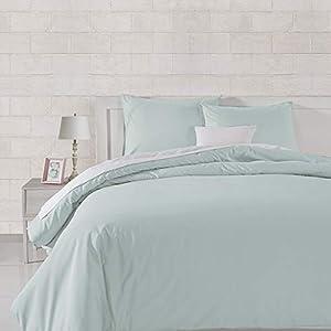Amazon Basics Sateen 400TC Cotton Duvet Comforter Cover Set, Full / Queen, Cloud Blue