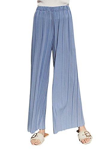 Pleated Pant Womens (Spmor Women's Chiffon Pleated Elastic Waist Wide Leg Palazzo Pants Light Blue S/M)