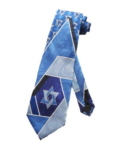 Steven Harris Mens Jewish Star of David Necktie - Blue - One Size Neck (David Necktie)