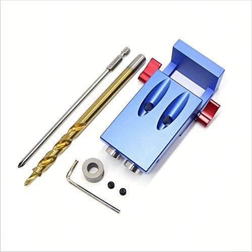 Mini Kreg - Kit de accesorios de madera con agujero de bolsillo para trabajos de madera y juntas + broca de paso y accesorios de madera con caja JD