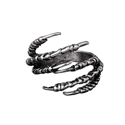 - Fashion Vintage Women Men's Opening Eagle Talon Rings Mystery Jewelry Gothic Punk Antique Eagle Claw Ring Jewelry (Silver)
