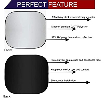 EcoNour Premium Car Windshield Sunshade with Easy Read Size Chart-Universal Fit for Car, SUV, Van,Truck-. 210T Nylon Material (Medium 28 x 31 inches (71 x 79 cm)): Automotive