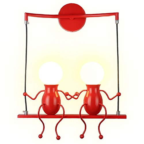 ht Fixtures Creative Double Little People Mini Wall Sconces Lighting Modern Decor Adjustable Swing Metal Bedside Lamp Children Cartoon Doll Gift Wall Lamps Bedroom 2×E26 (Red) ()