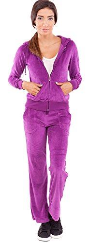 Ladies Velour Hoody Tracksuit Kangaroo Pocket Purple