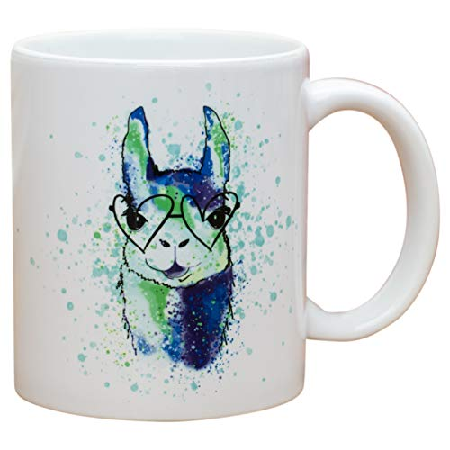 - Mama Llama Heart Glasses Blue Watercolor 11 Oz Ceramic Stoneware Coffee Mug