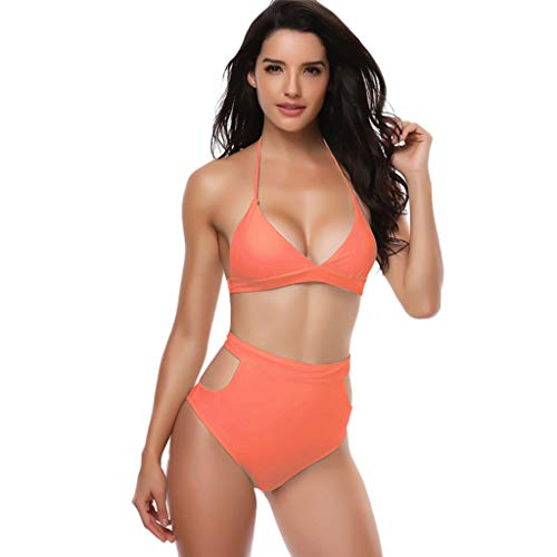 WOCACHI Bikinis for Womens, Women Padded Sexy Lace-up Solid Backless Bikini Halter Beach Bathing Swimwear Side Thong Sets Classic Pure Solid Color Sexy Ribbed Tops Shirts Sports Orange